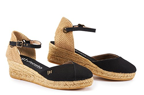 Espadrilles Noir inch Made Closed Pubol Ankle with VISCATA Classic 2 Toe in Strap Heel Spain wZYqw1W6