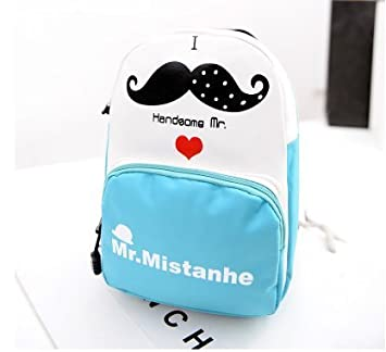 da8c7ae05b Hot Fashion Funny Style Lovely Mr. Moustache Patterned Girls Leisure  Backpack Cute Style PU Leather Backpack Funky ...