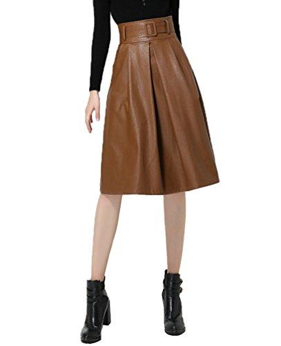 CHENGYANG Damen Hohe Taille Kunstleder Flared A-Linie Röcke Lang Skater Falten Party Rock Khaki#2 x46NY80YS