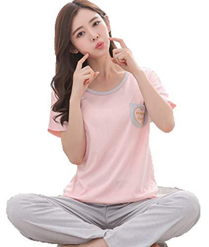 corte donna a maniche a da maniche Chqin corte due da maniche estivo pezzi pigiama a a donna a Set corte pezzi Pigiama da Pantaloni due pZZwFCqS