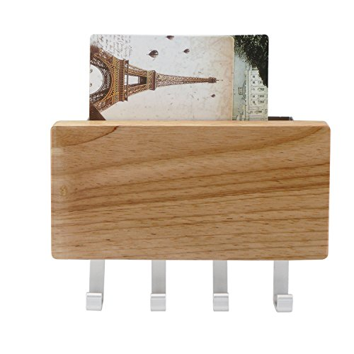 Key Holder, Segarty Decorative Wooden Key Chain Rack Hanger Wall Mounted with 4 Hooks, Multiple Mail and Key Holder Organizer for Door, Entryway, Hallway, Kitchen by Segarty (Image #1)