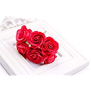 6Pcs Artificial Rose flower Stamen Scrapbooking Bouquet flowers for Home Garden wedding Car corsage decoration Supplies Color Red 54