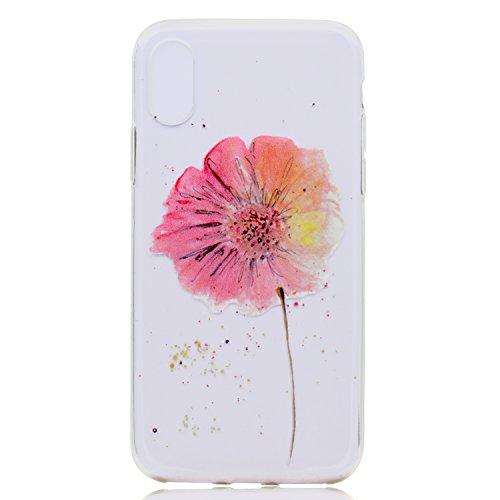 iPhone X Coque , Leiai Transparent Mode Fleur Ultra-mince Clear Silicone Doux TPU Housse Gel Etui Case Cover pour Apple iPhone X