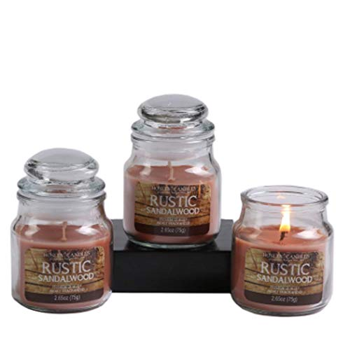 (Hosley Set of 3 Rustic Sandalwood Highly Scented 2.65 Ounce Wax Jar Candle Ideal Gift for Party Favor Weddings Spa Reiki Meditation Bathroom and Candle Gardens Settings)