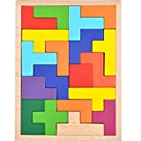 GYBBER&MUMU Wooden Tetris Puzzle Colorful Tangram Color and Shape Jigsaw Puzzle Developmental Learning Toys for Age 1+