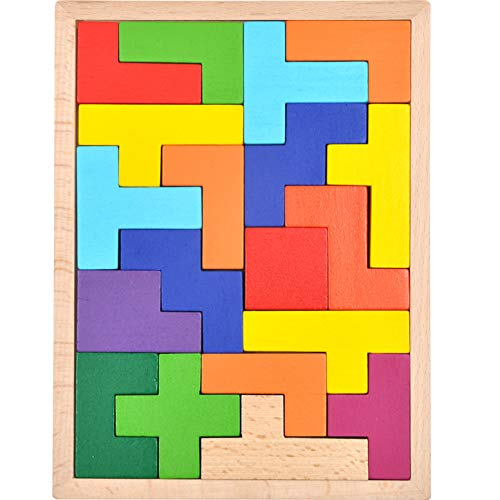 GYBBER&MUMU Wooden Tetris Puzzle Colorful Tangram Color and Shape Jigsaw Puzzle Developmental Learning Toys for Age 1+ ()