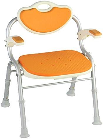 Cqq Badestuhl Duschstuhl zusammenklappbar -Anwendbar für ältere Menschen, Schwangere, Behinderte (Farbe : Orange)