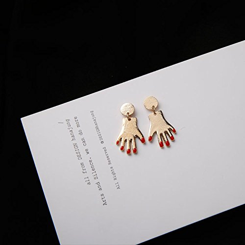(2018 hand-made unique minimalist red nails small hand palm earrings earrings earrings women girls exaggerated personality )