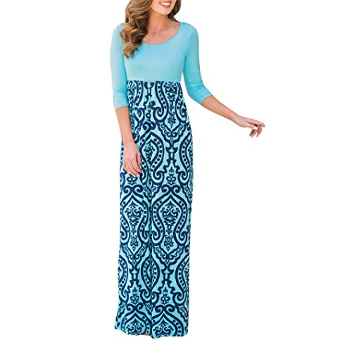Kimloog Maxi Sundress, Women Scoop Neck Print High Waist Long Boho Beach Dress (XL, Blue) by Kimloog