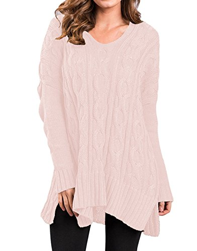 Women's Fall Winter Long Sleeve Loose Pullover Sweaters Knit Jumper Light Pink S