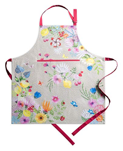 Maison d' Hermine Jardin D'Ete 100% Cotton Fog Apron with an Adjustable Neck and Hidden Centre Pocket 27.5h by 31.5 - Apron Easter