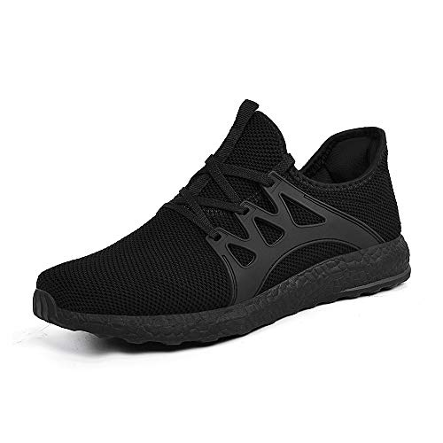 Feetmat Women's Walking Shoes Lace up Ultra Lightweight Breathable Mesh Athletic Running Sneakers Black Size 10 M US