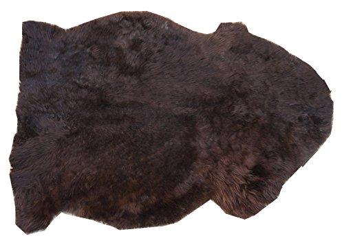 Schaffell Teppich MOKKA Naturbunt ungefärbt naturbelassen dunkelbraun Dekofell Lammfell Länge 70 / 80 cm