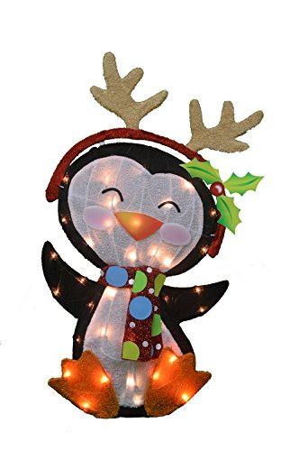 Product Works 32-Inch Pre-Lit Victoria Hutto Penguin Christmas Yard Decoration, 35 Lights