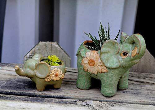 2PCS Elephant Flower Pot Ceramic Planter for Tiny Succulent Home Office Garden Decor
