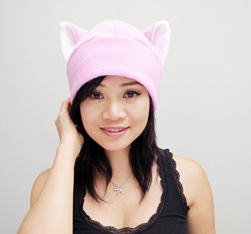 Pink pussy hat, Pussy Hat, Pussy cat hat, Pink Pussy Hats, Pussy Beanie Hat, Cat ear Hat, Pink Cat Ear Hat Toque Beanie Feline Kitty Kitten Fleece Anime Manga Goth Punk Rave clubbing Costume Cosplay