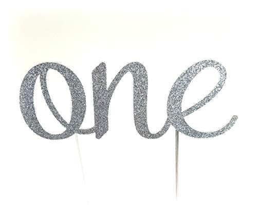 Handmade 1st First Birthday Cake Topper Decoration - One - Made in USA with Double Sided Glitter Stock (Silver)