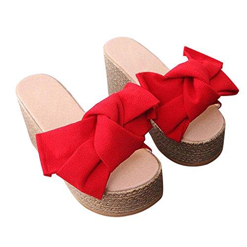 Estimada Mujer De Time Mujer Thick Bottom Platform Big Bowknot Sandalias Rojo