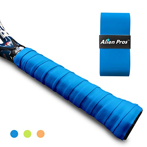 Alien Pros Tennis Racket Grip Tape (1 Grip) - Precut and Dry Feel Tennis Grip - Tennis Overgrip Grip Tape Tennis Racket - Wrap Your Racquet for High Performance (1 Grip, Sky Blue)