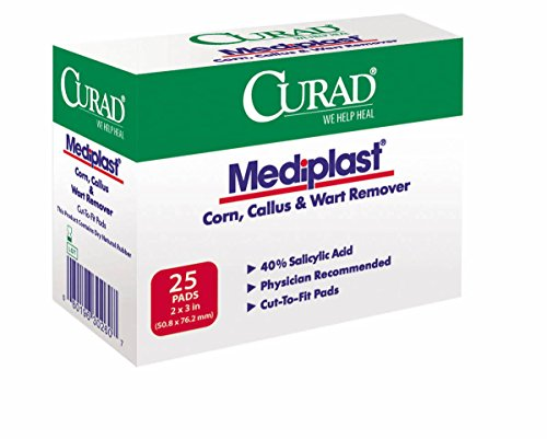 Curad Mediplast (25 Pads) Corn, Callus, and Wart Remover, 40% Salicylic Acid Pads for topical removal of corns, callus, or plantar (Curad Mediplast Pads)