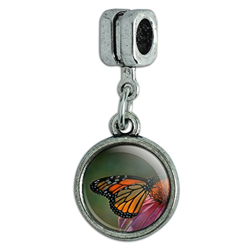Monarch Butterfly Bead (Graphics and More Monarch Butterfly and Coneflower Italian European Style Bracelet Charm Bead)