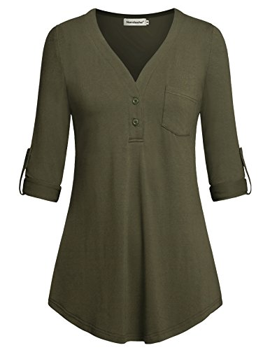 Nandashe Long Sleeve Blouse for Women Office, 2018 Fashion Country Style Elbow Length Hippie Shirts Peasant Blouse Pullover Sweatshirts with Front Button Mustard Army Green Color XL Plus Size by Nandashe
