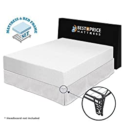 "Best Price Mattress 12"" Memory Foam Mattress & Premium Bed Frame Set, Queen"