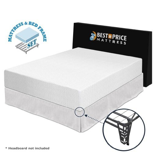 "Best Price Mattress 12"" Memory Foam Mattress and Premium Bed Frame Set, King"