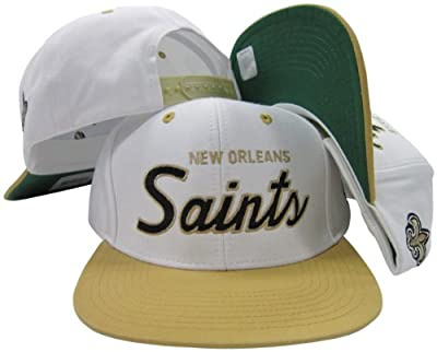New Orleans Saints White/Black Script Two Tone Adjustable Snapback Hat / Cap