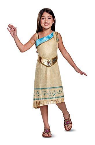 21411 Girls 4-6X Pocahontas Deluxe Costume Indain Dress Tan ()