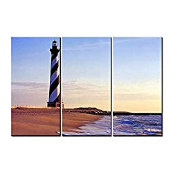 OYEO Canvas Art - 3 sets pictures of Cape Hatteras Lighthouse Paintings - The Picture For Living Room Decoration,City Pictures Photo Prints On Canvas