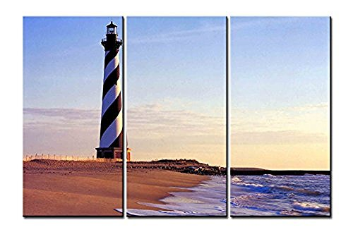 Cape Hatteras Lighthouse Pictures (OYEO Canvas Art - 3 sets pictures of Cape Hatteras Lighthouse Paintings - The Picture For Living Room Decoration,City Pictures Photo Prints On Canvas)