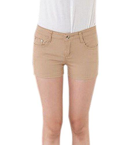 Fit Cortos Flacos Sólido Estiramiento Caqui Jeans Denim Pants Pantalones Juniors Mujeres Hot Deley xUPw0BCqn