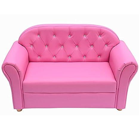 HOMCOM Sofa de 2 PLAZAS para Niños Mobiliario Infantil + Reposabrazos y Pedreria Decorativa