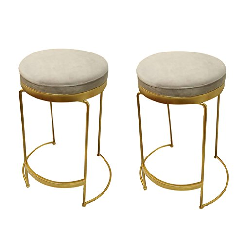 COZY HONE AAA Iron bar stool, breakfast stool chair golden personality creative bar stool single/double chair (Color : Two)