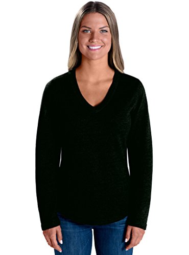 LAT Apparel 100% Cotton Ladies French Terry V-Neck  Black Lo