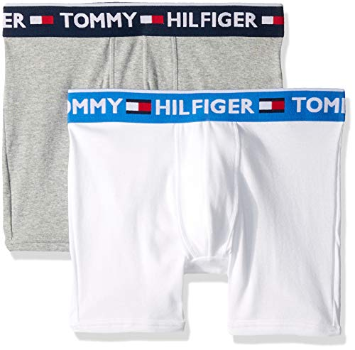 Tommy Hilfiger Men's Underwear 2 Pack Bold Cotton Boxer Briefs, White, XX-Large