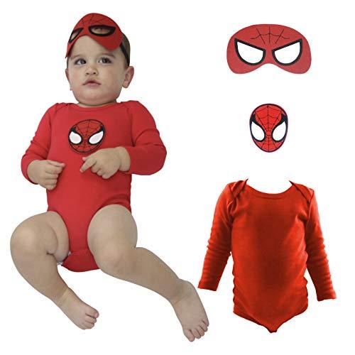 (COUVER 100% Cotton Baby Bodysuit Suit Boy Clothes Long Sleeve Solid Color Onesie Batman Patch Mask)