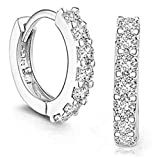 18K White Gold Filled Crystal Rhinestone Hoop Earrings Womens by Preciastore