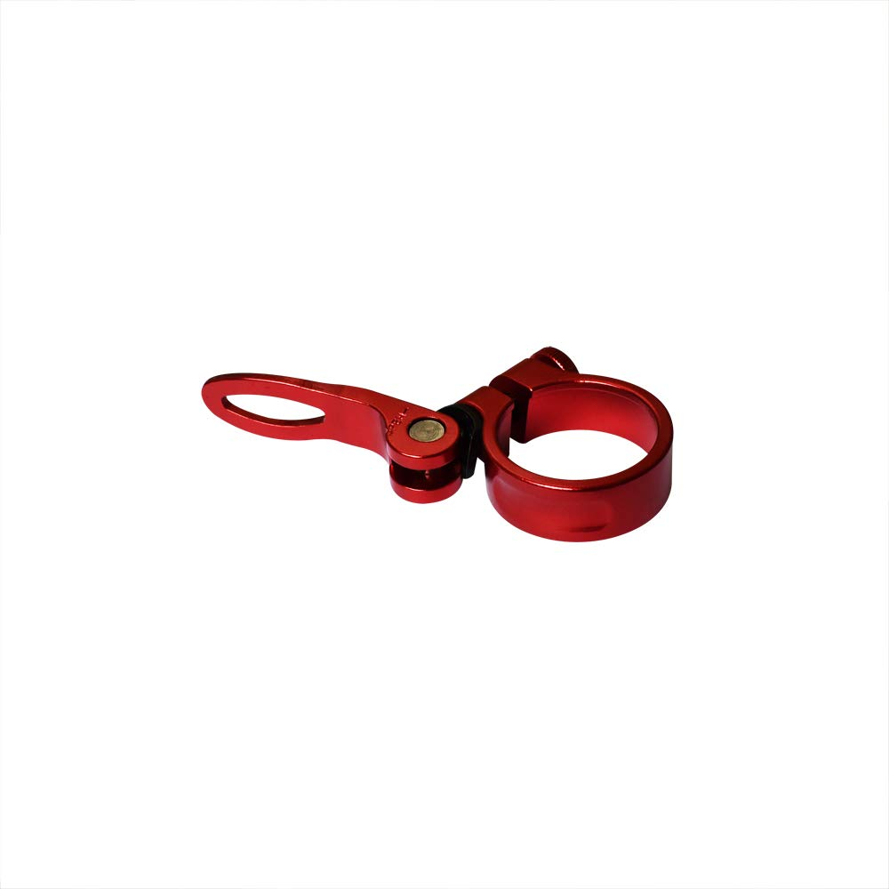 Yuauy 31.8mm Red Bike Seat Post Clamp Aluminium Alloy Bicycle Quick Release Seatpost Tube Clip for Mountain Tube Bike
