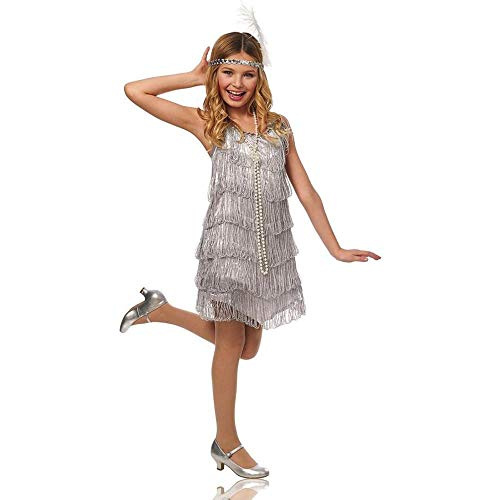 Silver Flapper Kids Costume -