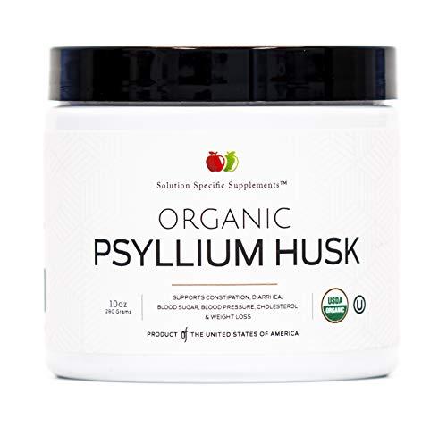 Organic Psyllium Husk Powder & Fiber Supplement Bulk – 10oz (280g) Pure Bulk Organic Whole Unflavored Fiber & Colon Cleanse Psyllium Seed