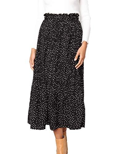 Naggoo Women's Casual Flowy Skirt High Waist Pleated Black Midi Skirt Side Pockets Black,S