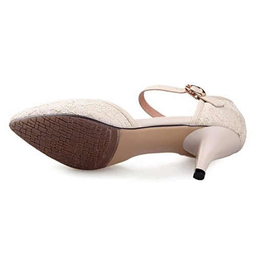 VogueZone009 Womens Closed Pointed Toe Kitten Heel Blend Materials Frosted Solid Pumps with Buckle, Beige, 3 UK
