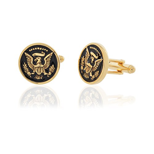 Colored Mens Cufflinks - United States Presidential Eagle Gold Colored Cufflinks