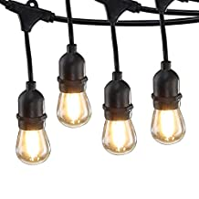Ideapro Globe String Lights 48-ft 15-Light LED Plug-in Bulbs, Weatherproof Outdoor Lighting-UL Listed-15 Hanging Sockets-Market Cafe Edison Vintage Bistro Strand for Garden Patio Porch Backyard Party Deck Yard - Black (48FT+15 Bulbs)