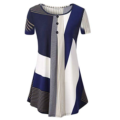 TANGSen Women Short Sleeve Round Top Collar Floral Irregular Streak Loose Casual Tops Fashion Blouse(Blue,XL)