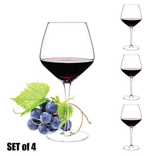 Luxbe - Crystal Wine Glasses, Set of 4 - Large Handcrafted Red or White Wine Glass - 100% Lead Free Crystal Clear Glass - Professional Wine Tasting - Burgundy - Pinot Noir - Bordeaux - 21-ounce (Large Lead Crystal)
