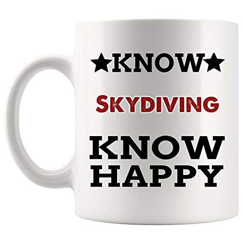 Know Skydiving Know Happy Mug Coffee Cup Tea Mugs Gift | hang gliding paragliding parachuting parasailing skydiver parachutist hang glider