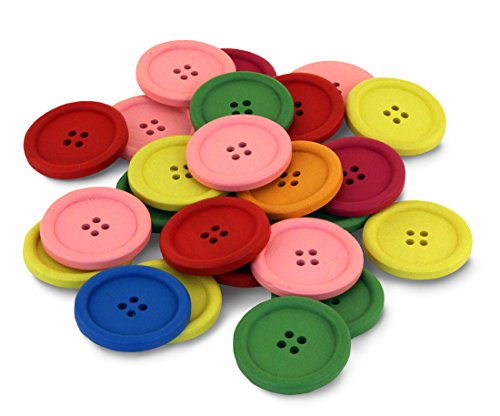 Buttons Bright (Hygloss Products Wood Buttons - Bright Colored Craft Wooden Buttons With 4 Holes, 40mm, 25 Pack)